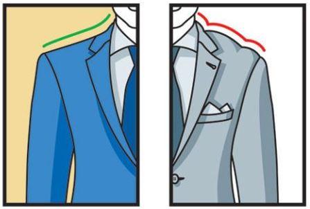 חליפה לא מותאמת - קפלים ובליטות בכתף העליונה