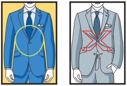 חליפה לא מותאמת - סימן איקס ברכיסת כפתור