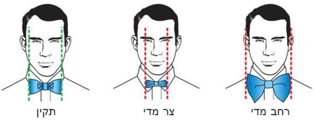 הרוחב הרצוי של עניבת פרפר / פפיון